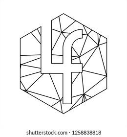 Lf initials geometric polygonal logo