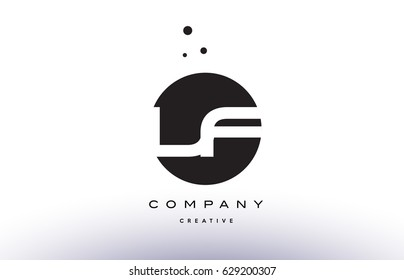 LF L F alphabet company letter logo design vector icon template simple black white circle dot dots creative abstract