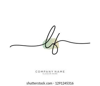 LF L F Initial handwriting logo template