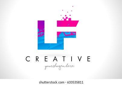 LF L F Letter Logo with Broken Shattered Blue Pink Triangles Texture Design Vector Illustration.