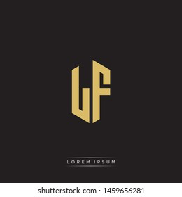 LF L F Logo Emblem Hexagon Capital Letter Modern Template