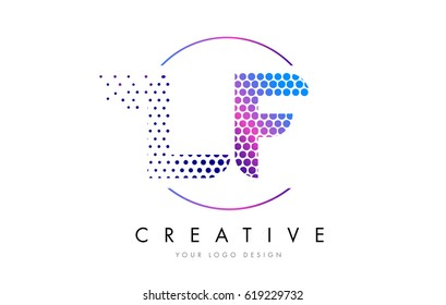 LF L F Pink Magenta Dotted Bubble Letter Logo Design. Dots Lettering Vector Illustration