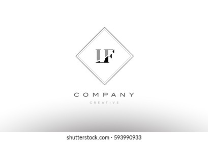 lf l f  retro vintage black white alphabet company letter logo line design vector icon template
