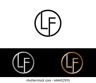 Lf Logo. Letter Design Vector with Red and Black Gold Silver Colors