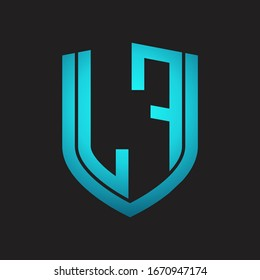 LF Logo monogram with emblem shield design isolated with blue colors on black background