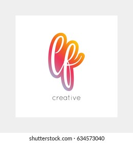 LF logo, vector. Useful as branding, app icon, alphabet combination, clip-art.