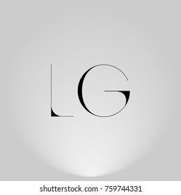 LG Black thin minimalist LOGO Design with Highlight on Gray background.