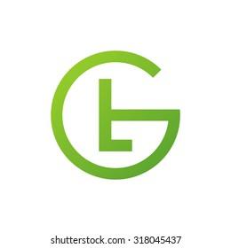 LG GL initial company circle G logo green