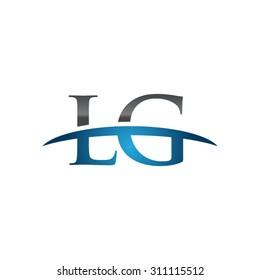 LG initial company group blue swoosh logo