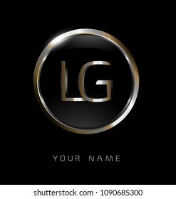 LG initial letters with circle elegant logo golden silver black background