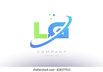lg l g alphabet green blue swoosh letter company logo vector icon design template