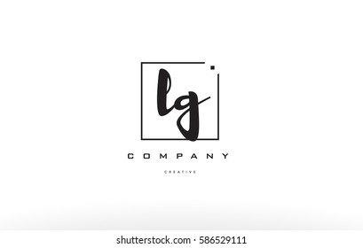lg l g hand writing written black white alphabet company letter logo square background small lowercase design creative vector icon template