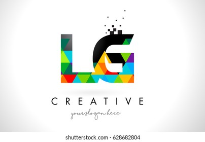 LG L G Letter Logo with Colorful Vivid Triangles Texture Design Vector Illustration.