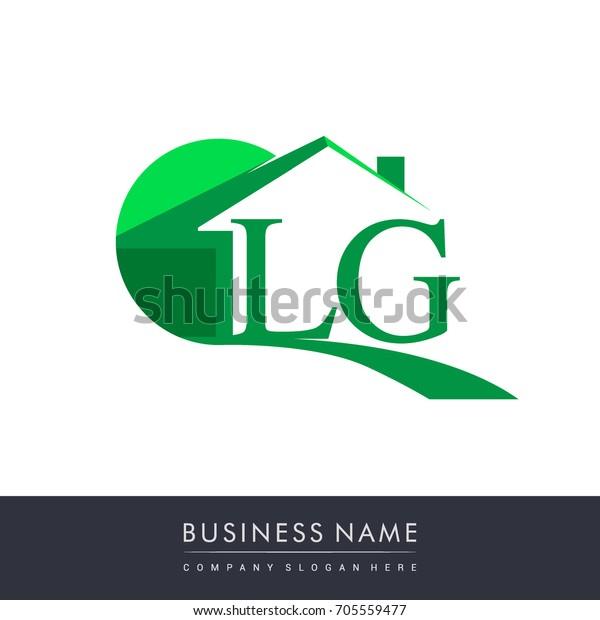 Lg Letter Roof Shape Logo Green Stock Vector (Royalty Free