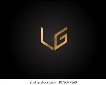LG square shape Letter logo Design in silver gold color