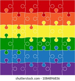 Lgbt background, card, poster, banner, backdrop. Flag lgbt on puzzle jigsaw pieces background. Peace pride gay sign. 36 color separate pieces, details, parts. Game group details.