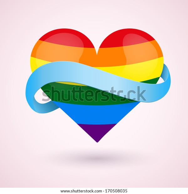 LGBT Background rainbow heart and blue ribbon. Vector illustration. Love, gay, lesbian and sexual minorities. Editable and isolated.