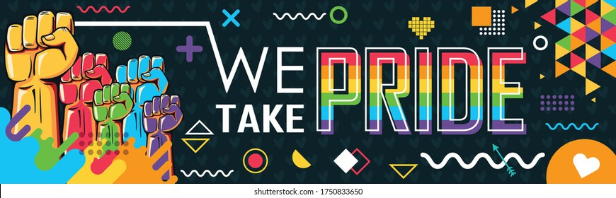 LGBT banner for pride month, with abstract retro background.