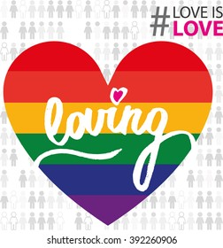 lgbt colorful sign. vector. loving calligraphy. support love is love