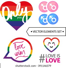 lgbt colorful sign vector set