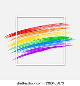 LGBT community flag and frame isolated on white. Symbol of gay pride. Grunge brush strokes texture the colors of the rainbow. International Day Against Homophobia vector illustration.