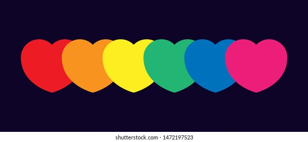 LGBT community. Gays, lesbians, transsexuals, bisexuals. Pride. Background for rainbow color design. Free love. Multi-colored hearts