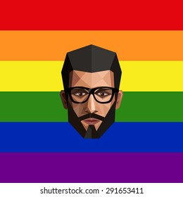LGBT community member. vector illustration of low-poly human face on the ranbow flag background.