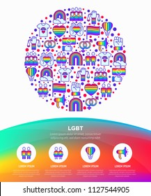 LGBT concept in circle with thin line icons: gay, lesbian, rainbow, coming out, free love, flag, support, stop homophobia, LGBT rights, pride day. Modern vector illustration, web page template.