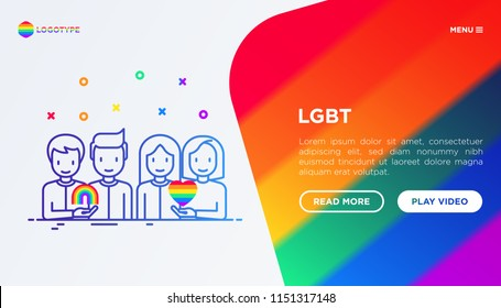 LGBT concept: gay couple with rainbow and lesbian couple with heart. Modern vector illustration, web page template on gradient background.