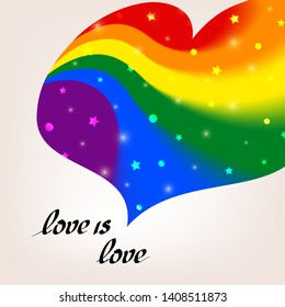 LGBT concept - heart shape in lgbtq flag colors with the text love is love. Blurred wavy rainbow background with sparkles and stars. Multicolor transgender gay lesbians vector poster