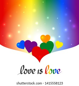 LGBT concept - heart shape in lgbtq flag colors with the text love is love. Blurred rainbow background with sparkles. Multicolor transgender gay lesbians vector poster
