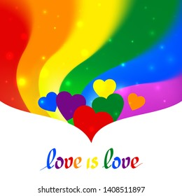 LGBT concept - heart shape in pride lgbtq flag colors with the text love is love. Blurred wavy rainbow background with sparkles and stars. Multicolor transgender gay lesbians vector poster