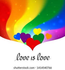LGBT concept - heart shape in pride lgbtq flag colors with the text love is love. Blurred wavy rainbow background with stars and sparkles. Multicolor transgender gay lesbians vector poster