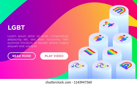 LGBT concept with isometric thin line icons: gay, lesbian, rainbow, coming out, free love, flag, support, LGBT rights, pride day. Modern vector illustration, web page template on gradient background.