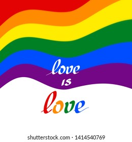 LGBT concept - rainbow pride flag lgbtq with the text love is love. Wavy rainbow background with sparkles and stars. Multicolor transgender gay lesbians vector poster