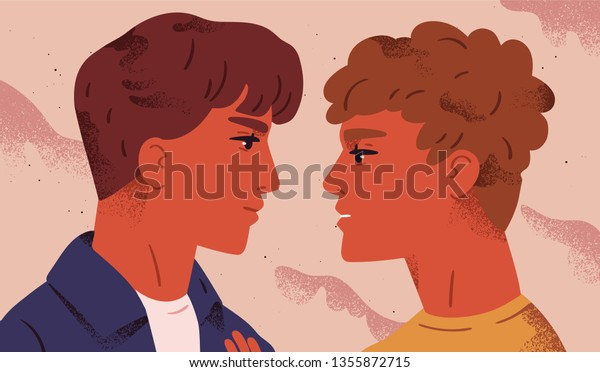 LGBT couple. Portrait of cute young men looking at each other. Pair of romantic partners on date. Homosexual relationship. Concept of love at first sight. Flat vector illustration for Valentine's Day.