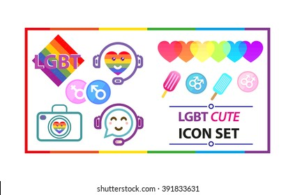 lgbt cute colorful icon and stickers set. vector.