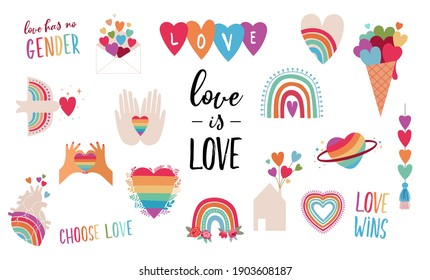 LGBT elements for Valentines day. Love symbols, rainbow, hearts and quotes for gays, lesbian and trans community