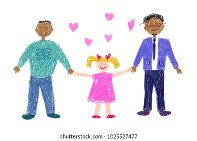 Lgbt family. Children's drawing. Two happy black men with white adopted  girl. Vector illustration.