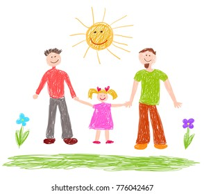 Lgbt family. Children's drawing. Ywo happy men with girl. Vector illustration.