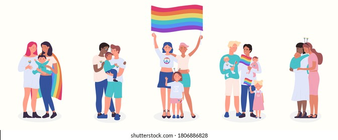 LGBT family flat vector illustration set. Cartoon happy LGBT family people collection of gay lesbian bisexual couple parent character and adopted children, rainbow adoption parenting isolated on white