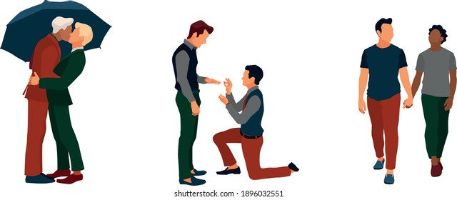 Lgbt family vector isolated illustration set. Two man kissing under umbrella, making proposal, holding hands, walking. Gay couples. Pride and mind freedom. Equal rights. Human relationships