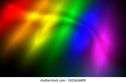 LGBT flag background glowing abstract blurred flares, wavering dark vector illustration. Design bisexual, lesbian, transsexual orientation, radiant effect of love. Night luminescent illumination, art.