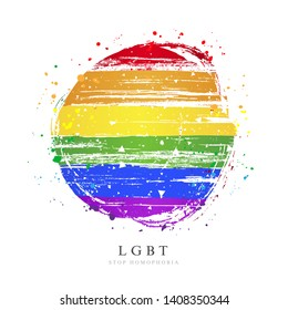 LGBT flag in the form of a large circle. Vector illustration on white background. Brush strokes drawn by hand. Stop homophobia.
