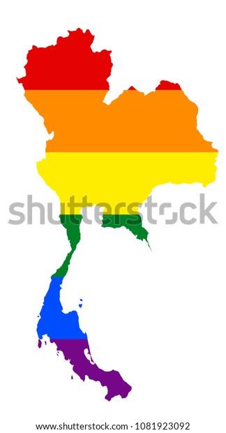 Lgbt Flag Map Thailand Vector Rainbow Stock Vector (Royalty ...