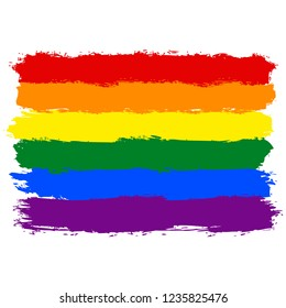 LGBT flag painted with brush strokes. The six color rainbow flag created for popularize and support the LGBT community in social media. Graphic element saved as an vector illustration in file EPS