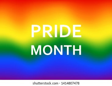 LGBT flag Pride Month blurred waving background. Lesbian Gay Bisexual Transgender. Celebrated annual, against homosexual discrimination, Human rights and tolerance.Rainbow Poster, card and wallpaper.