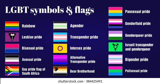 LGBT Gay flags and symbols on dark purple background