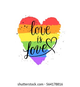 LGBT, gay and lesbian pride greeting cards, posters with spectrum hand drawn paint strokes, hearts, rainbow on Valentine's Day. Vector design elements with hand lettering isolated on white background