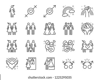 LGBT or GLBT icon set. Included the icons as gay, lesbian, bisexual, gender, lover, couple, marriage and more.